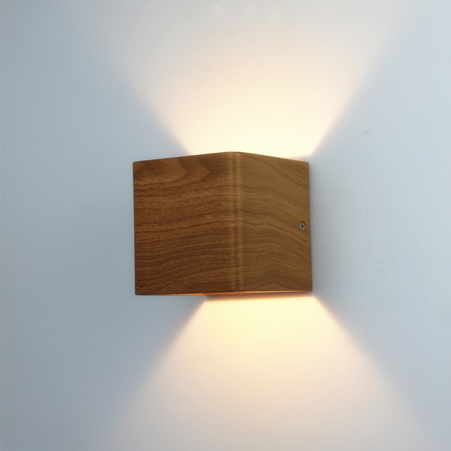 Wood Grain Led Wall Lamp 10*10*10cm 90~260V 5W Aluminum Up Design Ideas