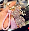 Bomgom Tassels Crystals Popobe Gloomy Bear Keychain Car Key Holder Bag Charm Holder Key Chain Key Ring Pendant Fo-K025-pink