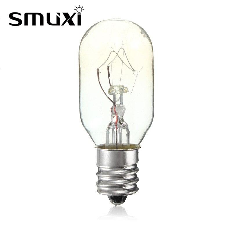 Smuxi High Temperature 15W/25W Incandescent Bulb E12 Salt Lamp Toaster Oven Refrigerator Light Filament Bulbs Lighting 120V
