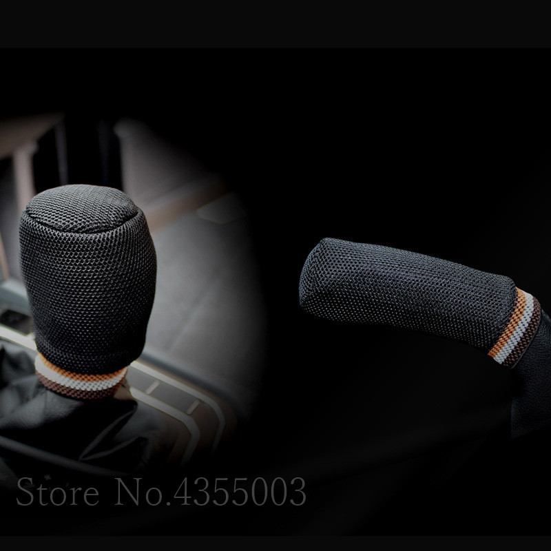 Car Handbrake Grips 5 Colors Gear Shift Knob Cover Hand Brake Cover Sleeve 2 In 1 Set Universal Sandwich Protector Accessories