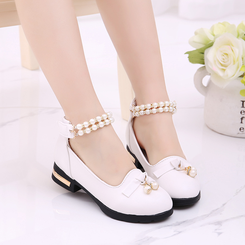 2018 Spring Kids Leather Shoes Sweet Baby Girls Bowknot Pearl Beads Dance Princess Dress Shoe Children Infantil Chaussures Fille