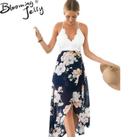 Blooming Jelly Backless Floral Print Chiffon Dress Sexy V Neck Crochet High Low Beach Dress Summer
