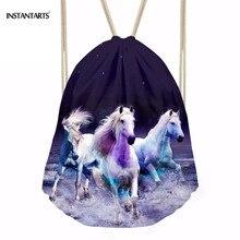 INSTANTARTS Brand Design 3D Rainbow Crazy Horse Print Drawstring Bag String Cincn Sack Backpack Women Men Mini Bagpack Schoolbag