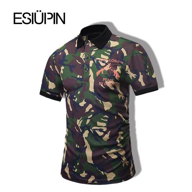Esiupin nuevo polo camisa 3d estampado de camuflaje de manga corta polo camisa de los hombres de moda solapa polo homme y33