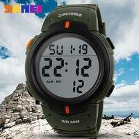 SKMEI-relojes deportivos para hombre, pulsera Digital Led con correa de PU, resistente al agua, con esfera grande, para deportes al aire libre