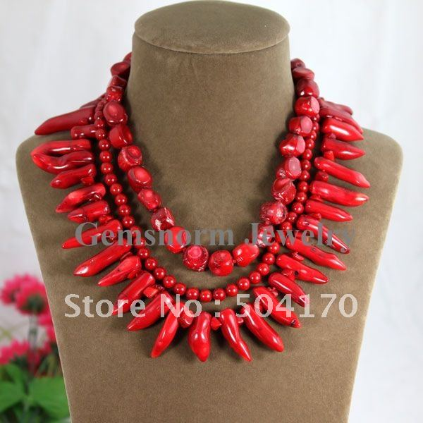 Fashion Rows Coral Necklace Handmade Knitted Baroque Coral Jewelry Wedding Jewelry Free Shipping CNR094