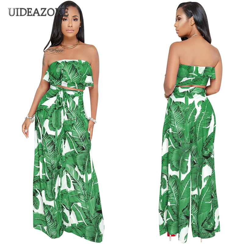 0620d3f9c2 Summer New 2 Piece Crop Top And Pants Women Set Fashion Palm Tree Leaf Print  Tops