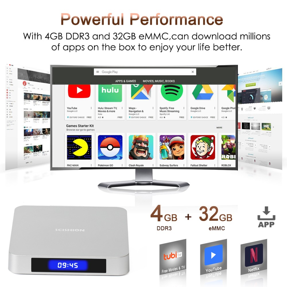Leelbox AI ONE TV Box android 9.0 téléchargement d'applications H6 4GB DDR3 32GB EMMC 2.4GHz 5GHz WiFi BT4.0 Support 4K H.265 WIFI