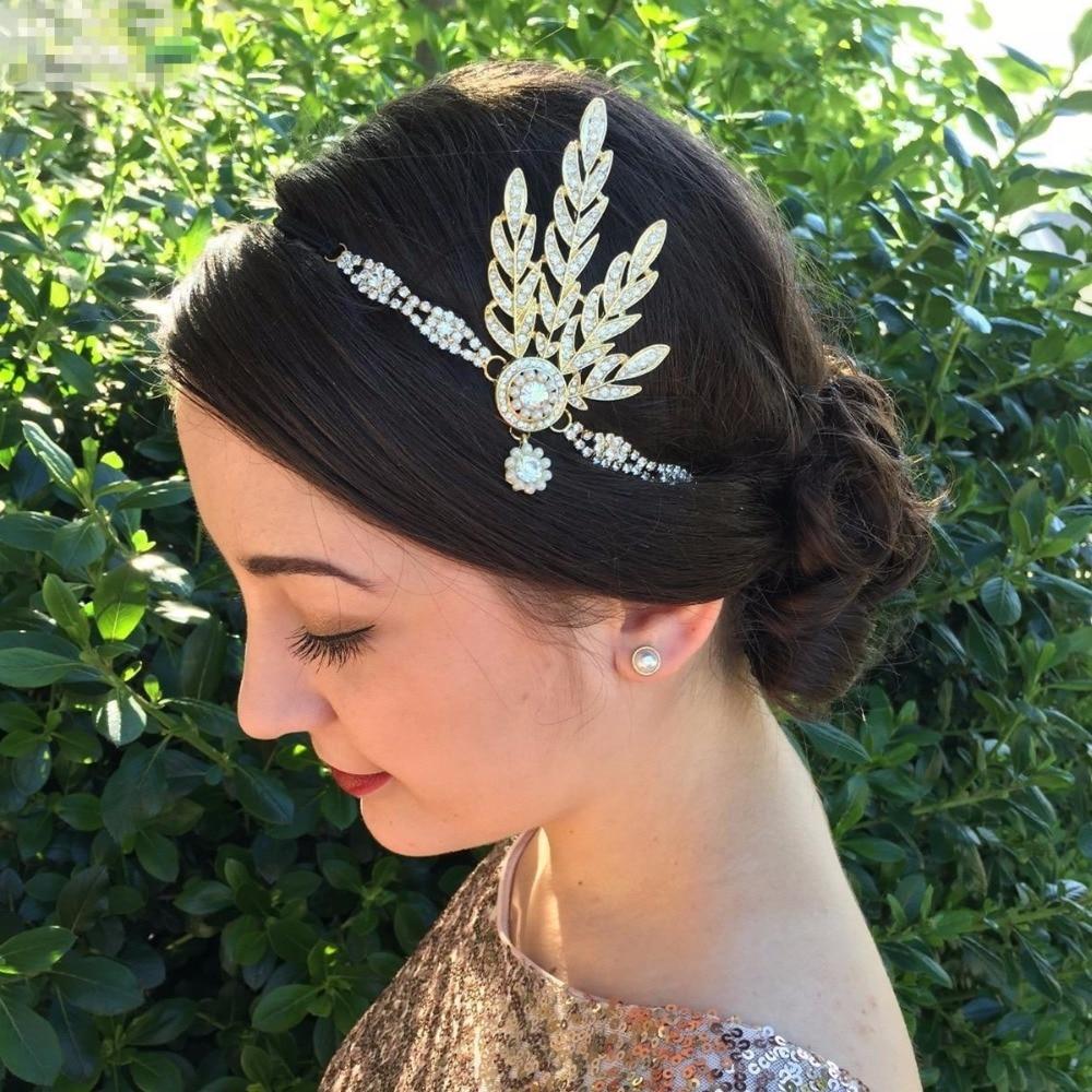 Винтажная повязка на голову Great Gatsby 1920s, модный праздничный костюм для девочек, аксессуары для волос, свадебный головной убор с камнями и жем...