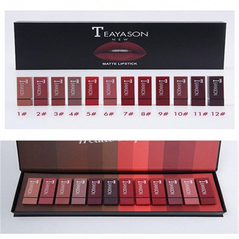 Qualité supérieure boîte 12 couleur carré tube sexy rouge rouge à lèvres rouge à lèvres mat citrouille mat brique rouge sale orange cosmétique rouge à lèvres