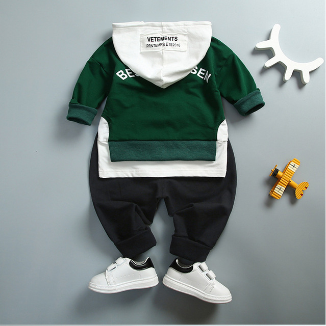 Spring Autumn Kids Cotton Clothes Sets Baby Girls Boys Sports Hooded T-Shirt Pants 2pcs/Sets Fashion Children Casual Tracksuits 1
