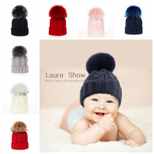 Фотография Ins 2016 Winter Brand New Colorful Snow Caps Wool Knitted Beanie Hat With Raccoon Fur Pom Pom For Baby Kids Hip Hop Skullies Cap