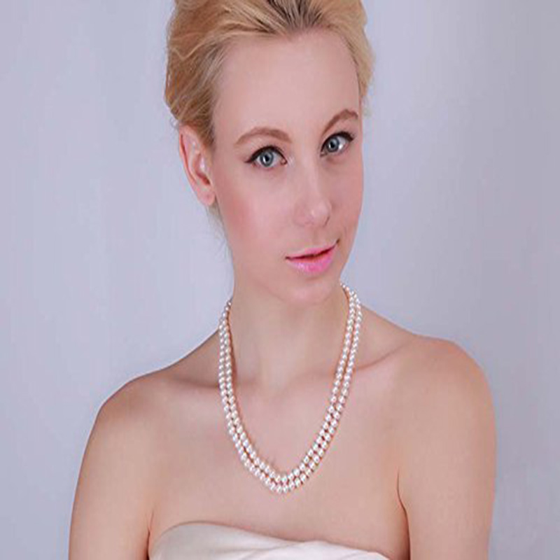 JYX Classic Double-row Pearl Necklaces Flatly Round 7mm Natural Freshwater Cultured Pearl Necklace (white)JYX Classic Double-row Pearl Necklaces Flatly Round 7mm Natural Freshwater Cultured Pearl Necklace (white)