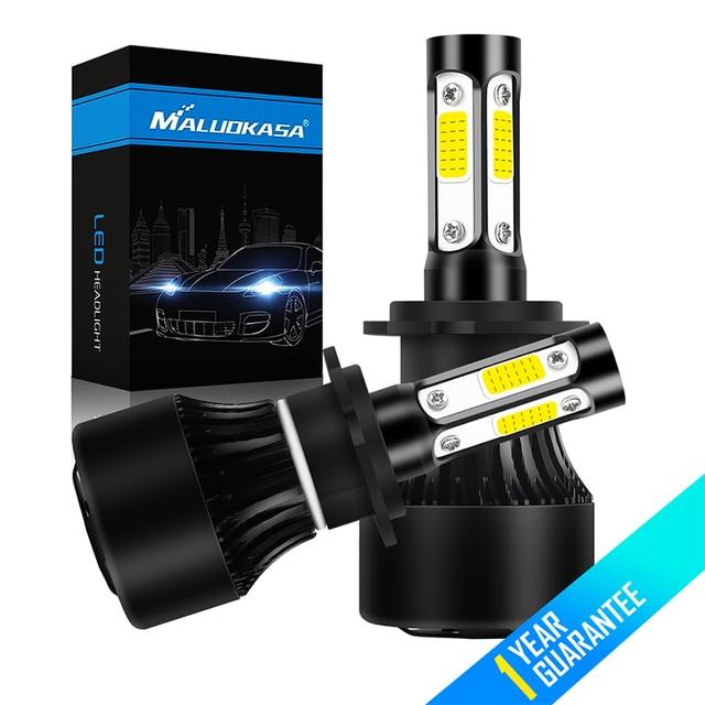 2pcs H4 Hi Lo H7 Led Headlamp Fog Lights 4 Sides Lumens Cob 100w