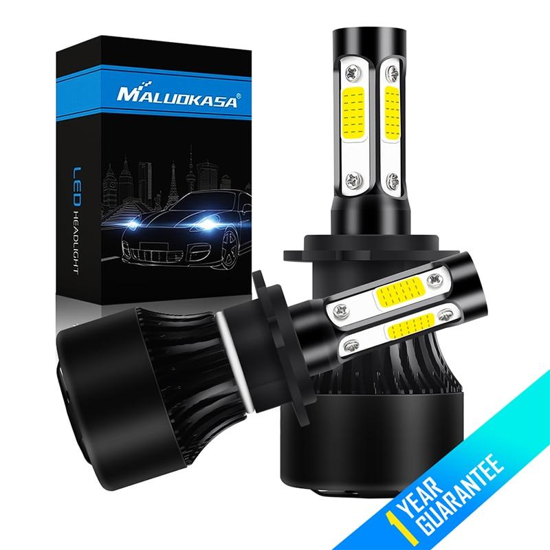 цена на MALUOKASA H4 Hi lo H7 Auto Led Headlamp Fog Lights 4 Sides Lumens COB 100W 16000LM H11 9005 9006 Car LED Headlight Bulbs 12V 24V