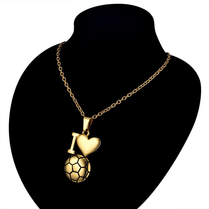Emaille Fußball Halskette Gold Farbe Ich Liebe Fußball Anhänger - Modeschmuck - Foto 4