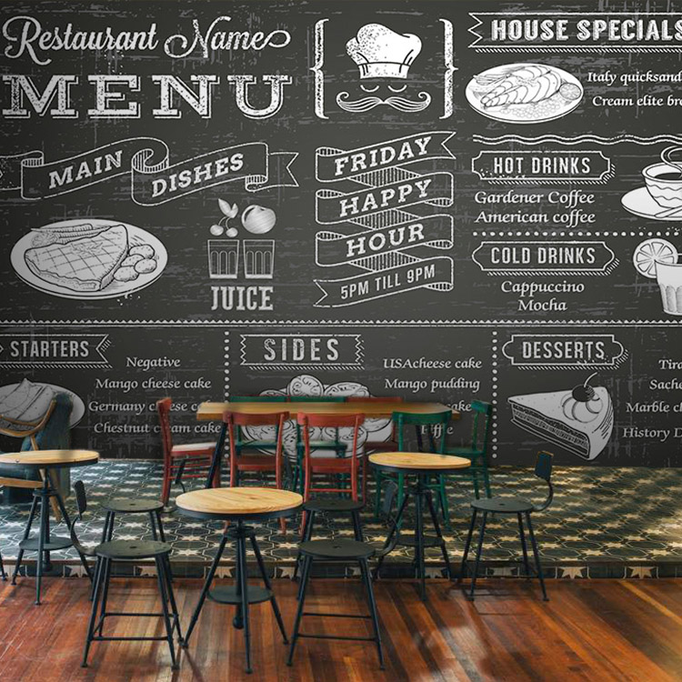 Custom photo wallpaper Dessert  food wallpaper blackboard pizza coffee tea coffee bakery large mural wallpaper свитшот naf naf naf naf na018ewpta90