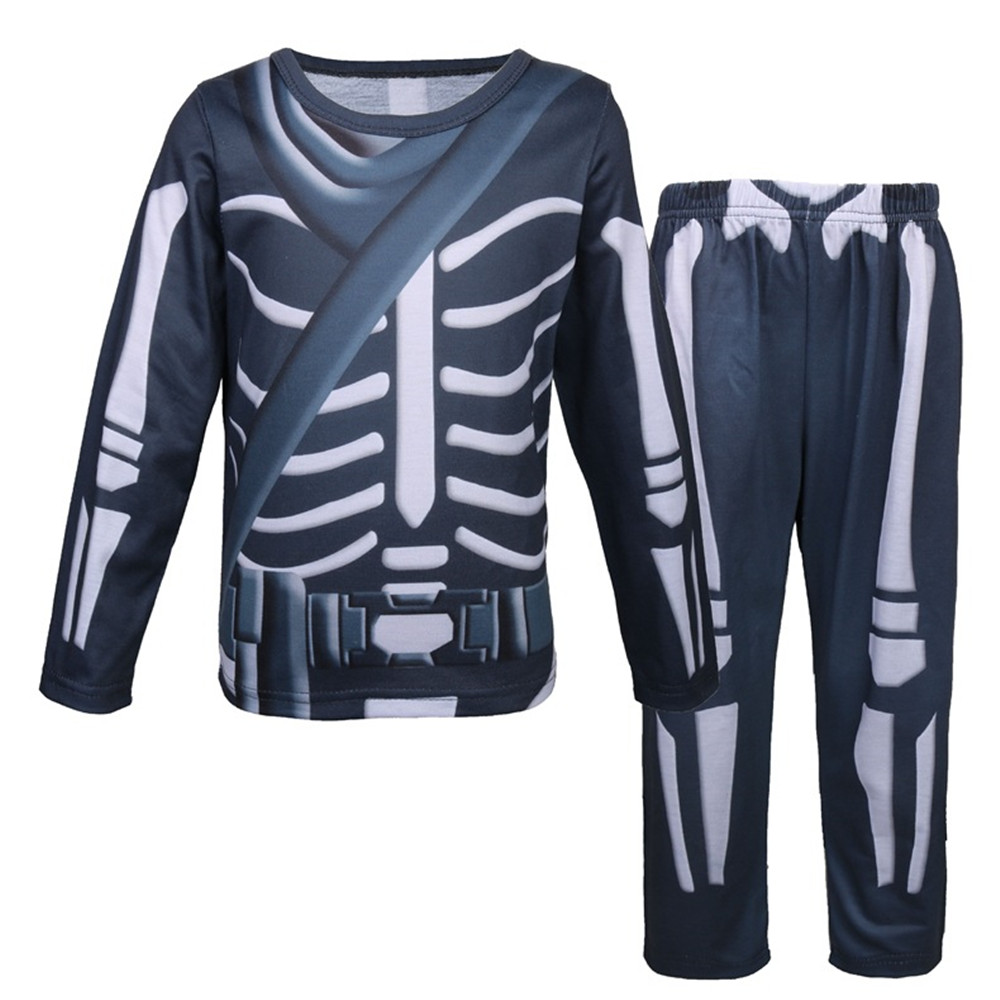 Cosplay 3D skeleton print children's pajamas top / pants casual suit Halloween ghost vampire horror skeleton warrior costumes