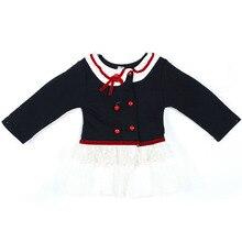 Baby Girls Long Sleeve Dress Shool Girl Shirts Dress Kids One Piece Dresses Outfits 0-24M H78