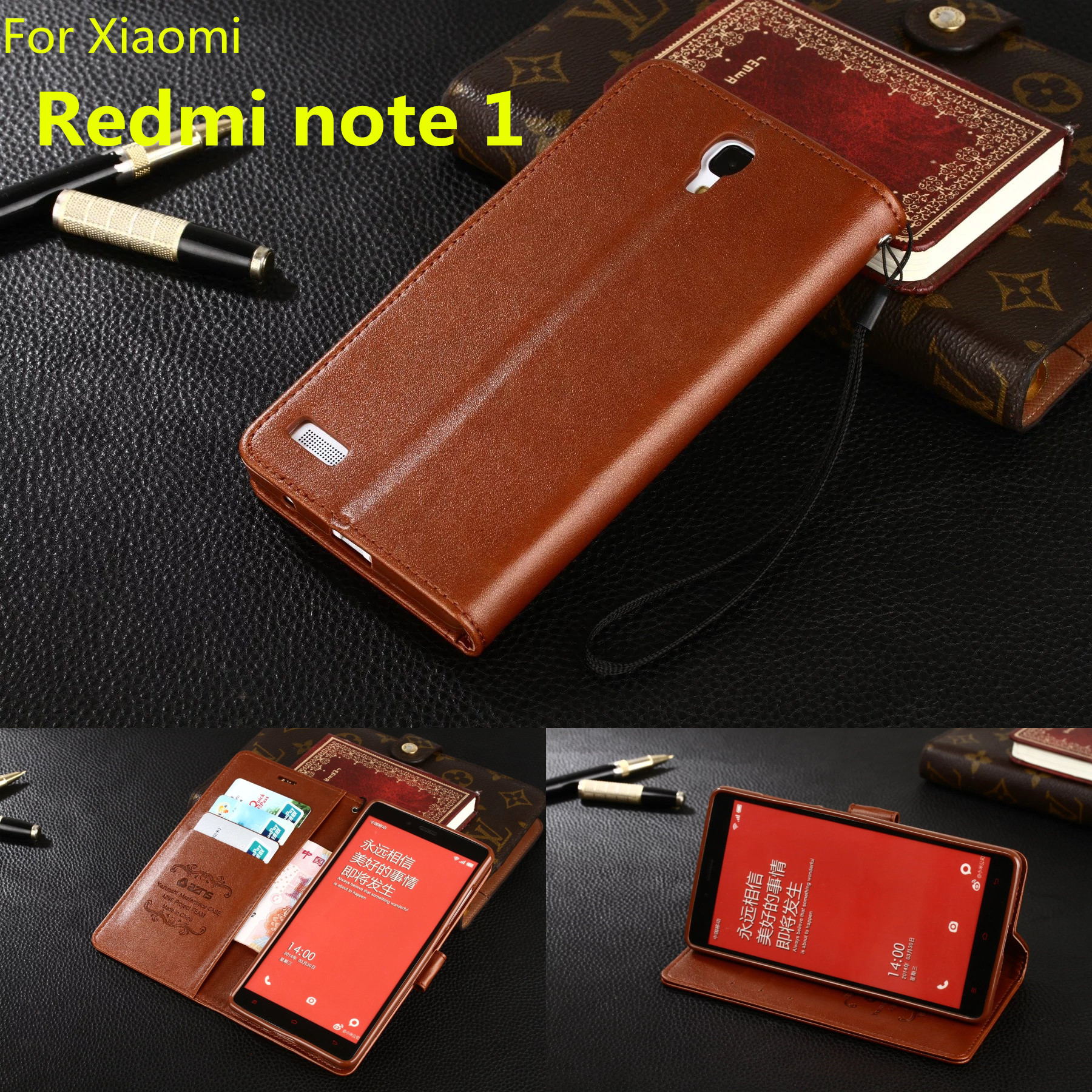 info for 523d4 a0069 US $9.99 |Red rice Note 1 Ultra thin flip cover pu leather cover phone case  for Xiaomi Redmi Note 1 LTE 4G case wallet card holder Holster-in Flip ...
