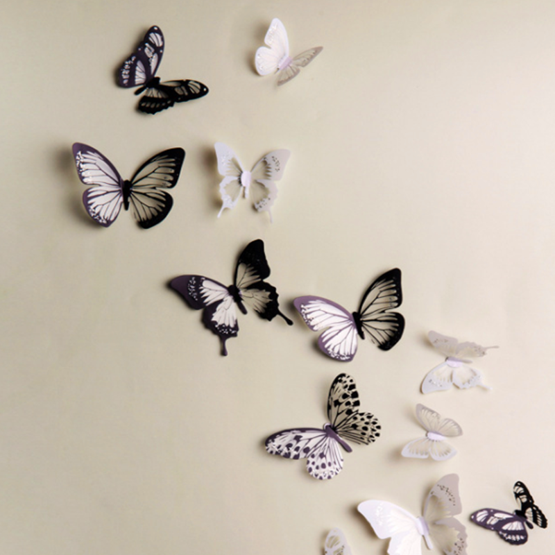 18pcs/lot 3d Effect Crystal Butterflies Wall Sticker Beautiful Butterfly for Kids Room And Decals Christmas Wedding Decoration
