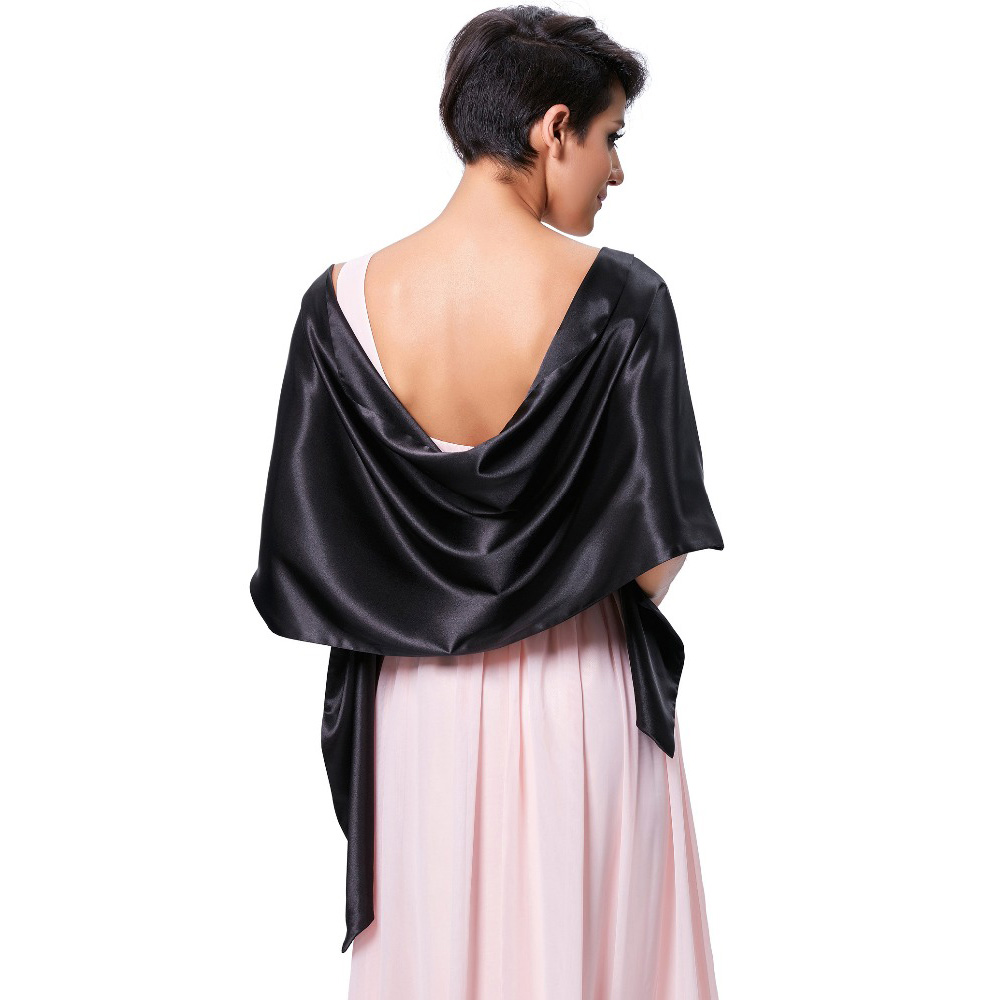 59dfe6e5b9ebf US $15.83 |Elegant Long Satin Scarf Women Solid Color Wrap Bridal Shawl For  Evening Dress Formal Wedding Party Fashion Scarves And Stoles -in Wedding  ...