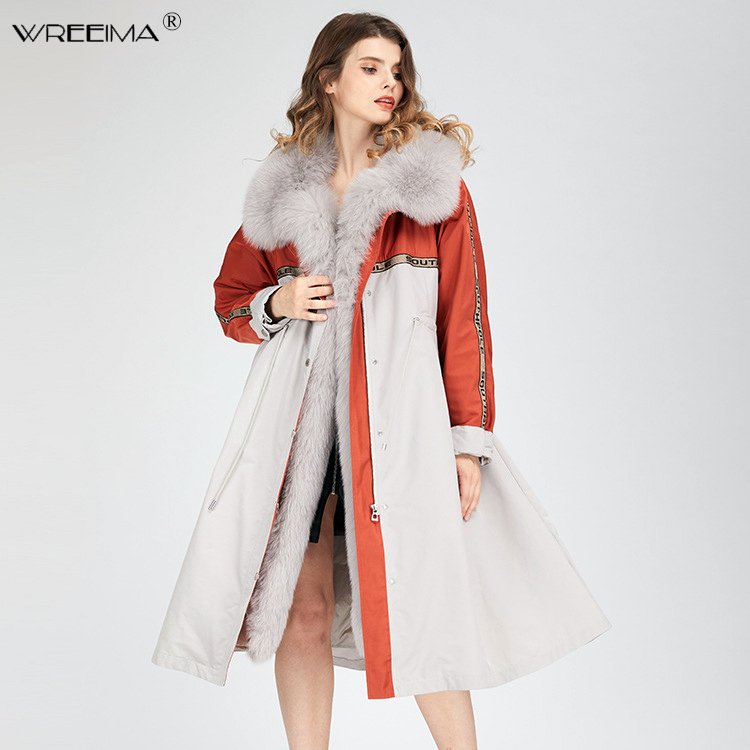2018 brand long Patchwork winter jacket coat women   parkas   real fur coat big natural raccoon fur Detachable outerwear   parka   VN77