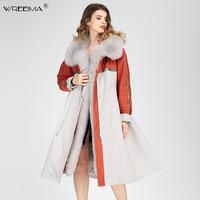 2018 brand long Patchwork winter jacket coat women parkas real fur coat big natural raccoon fur Detachable outerwear parka VN77