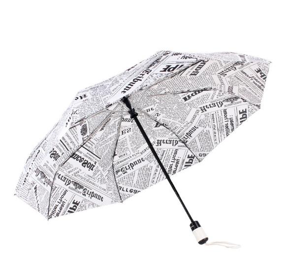 New Creative Fashion Newspapers Automatic Folding Umbrella Windproof Sunscreen UV Protection Sunshade Practical Umbrella C288