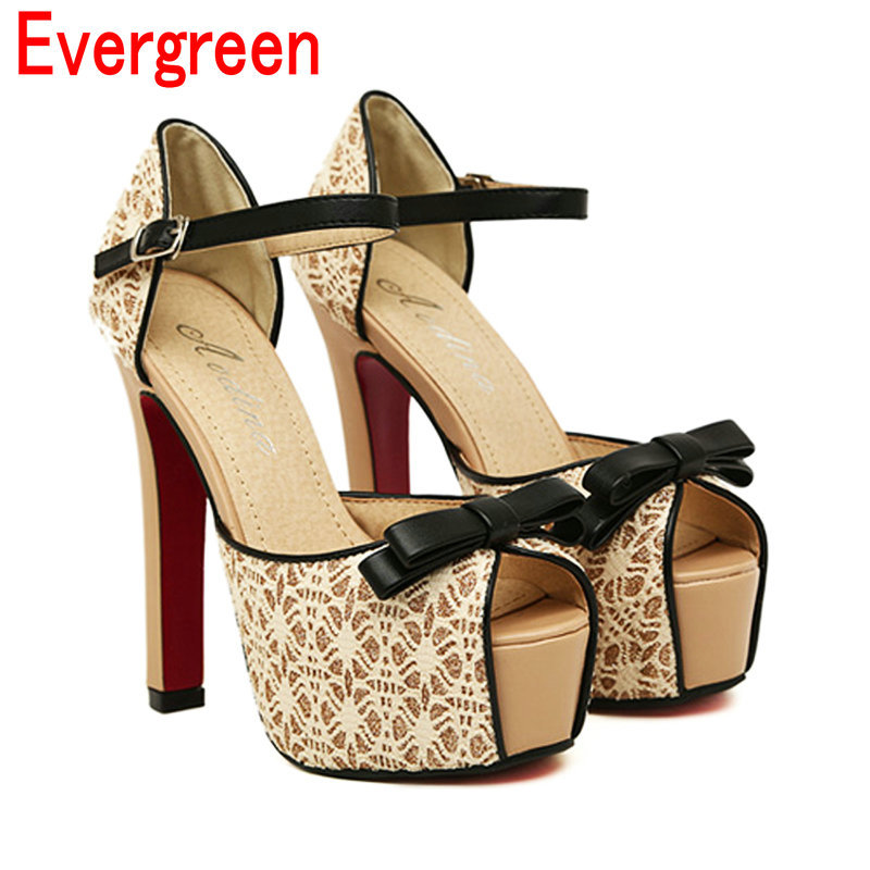 2015 spring summer new lace bow peep toe women sandals color block platform high heels shoes pumps KN466 - Evergreen Team store
