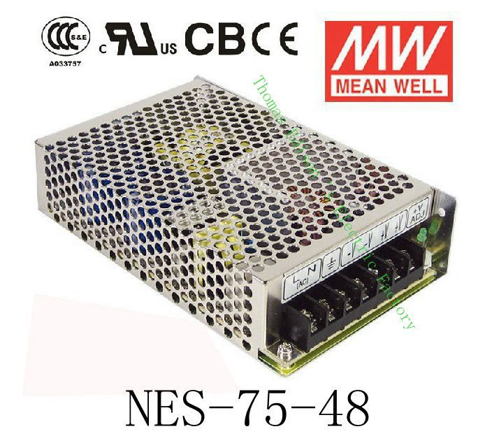 Original MEAN WELL power suply unit ac to dc power supply NES-75-48 75W 48V 1.6A MEANWELL meanwell 24v 75w ul certificated nes series switching power supply 85 264v ac to 24v dc