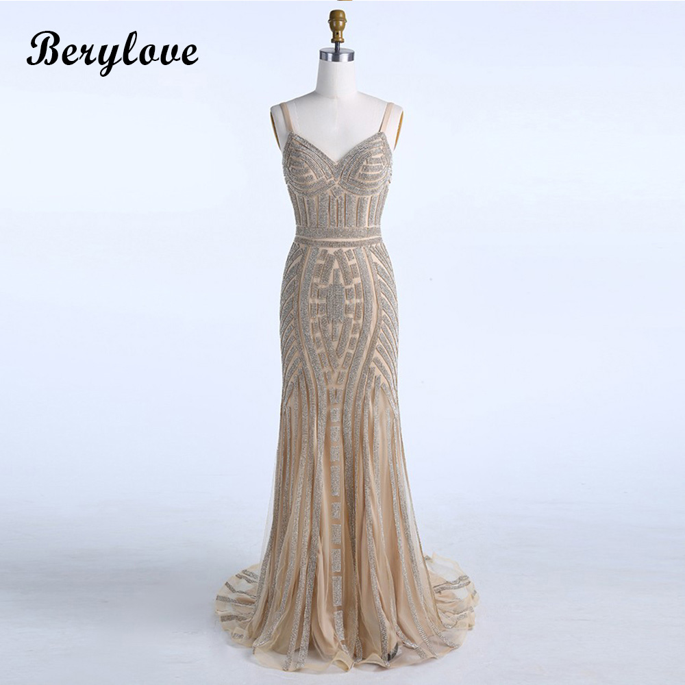 BeryLove Champagne Mermaid Evening Dresses 2018 Spaghetti Straps Beading Evening Gowns Prom Dresses Formal Dress Party Dresses