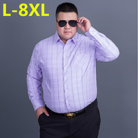 Big Size 8XL 7XL Men Flannel Plaid Shirt Cotton 2017 Spring Autumn Casual Long Sleeve Shirt