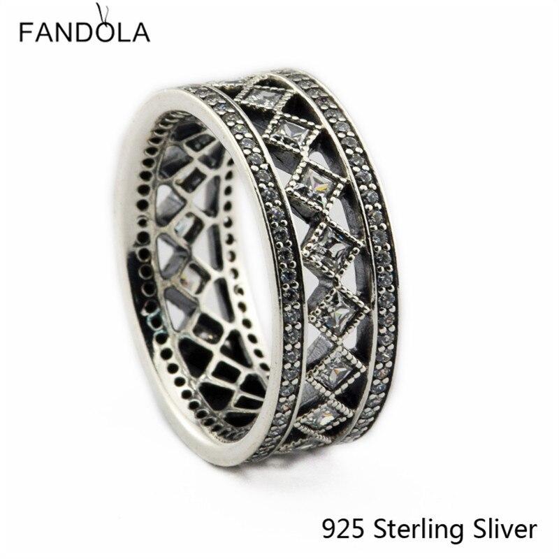 CKK 925 Sterling Silver Vintage Fascination prsteny pro ženy Originální evropský styl DIY módní šperky