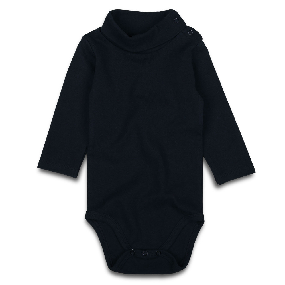 Baby Rompers Black Newborn Turtleneck Baby Boy Girl Clothes Cotton Long Sleeve Infant Jumpsuit Casual Baby Clothing 0-24M Solid цена