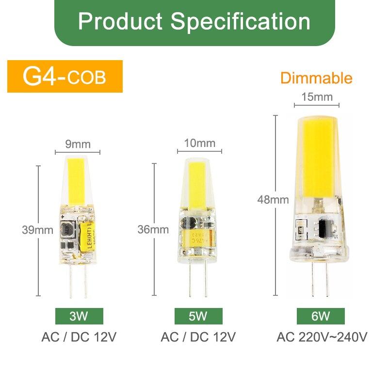 Kaguyahime 1pcs 5pcs LED Lamp G9 G4 led bulb Dimmabl AC DC 12V 220V 3W 6W 10W COB SMD LED G4 G9 replace Halogen Light Chandelier in LED Bulbs Tubes from Lights Lighting