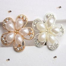 20pcs/lot 25MM Beautiful Metal Rhinestone Buttons With Pearl For Flower Cluster Hair Wedding Embellishment Accessories