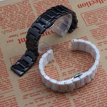Керамические ремешок для часов ремешок браслет черный белый 12mm14mm 16 мм 18 мм 20 мм наручные часы группа браслет смарт-часы аксессуары