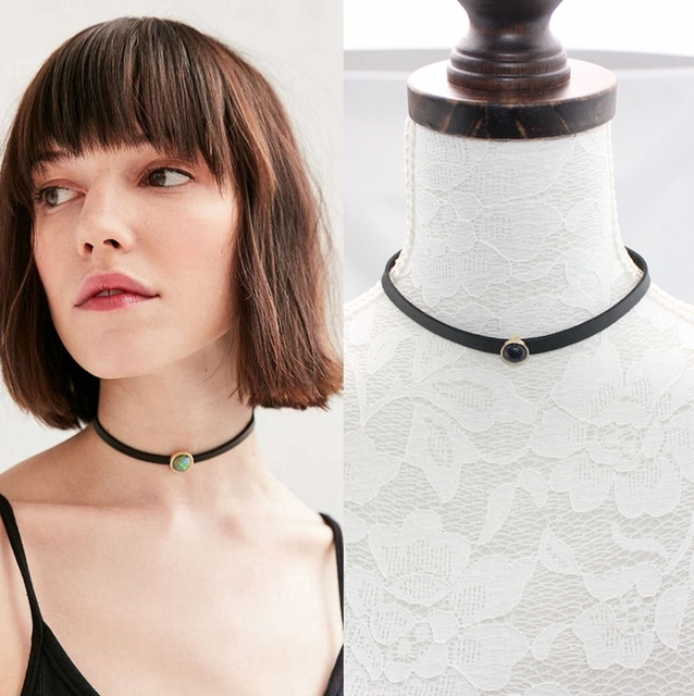 Cool Style Thin Black PU Leather Faux Stone Charm Choker Necklaces Pendants for Women