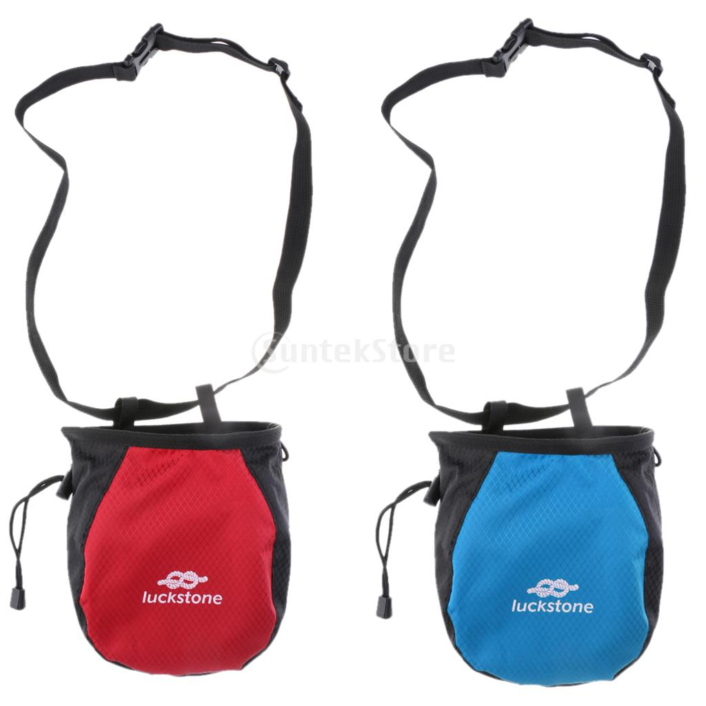 2 Pieces Chalk Bag Pouch for Rock Climbing Gym with Drawstring and Quick-clip Waist Belt