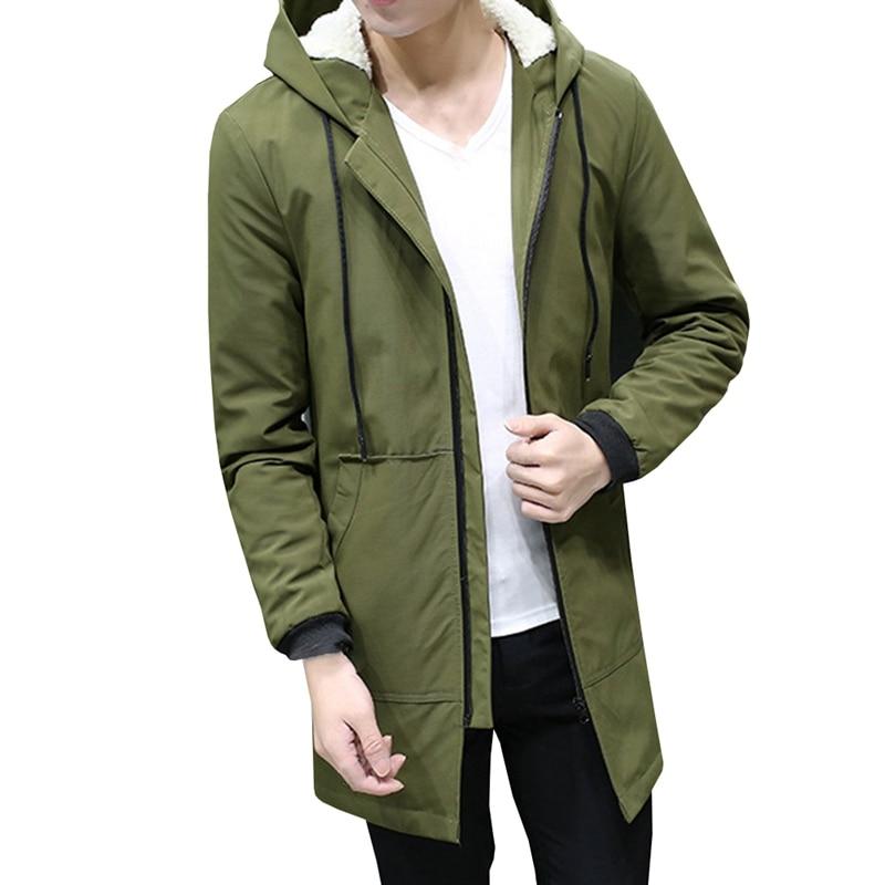 Winter Jacket Men Hooded Slim Parka Long Jacket Coat Windbreaker Parkas Cotton Youth Clothing