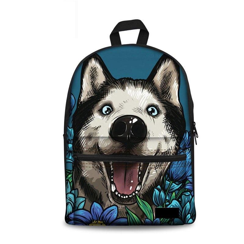 Noisydesigns School Bag Girls Siberian Husky Casual Canvas Printing Children Schoolbag Backpack Laptop Backbag Teens Mochila