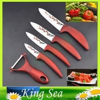 5pcs Zirconia kitchen Ceramic fruit Knife Set 3 4 5 6 with flower prined knives+ Peeler, Free shipping
