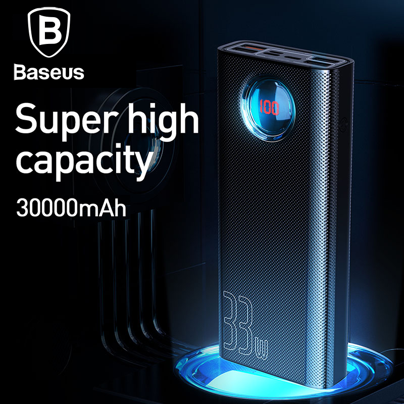 Baseus 30000mAh Power Bank USB C PD Fast Charging 33W Powerbank Charger For Xiaomi Portable External