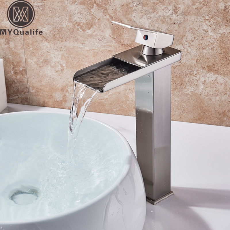 Brushed Nickel Basin Vanity Sink Faucet Single Handle Waterfall Bathroom Mixer Deck Mount Hot Cold Water Tap 3 Color For ChoiceBrushed Nickel Basin Vanity Sink Faucet Single Handle Waterfall Bathroom Mixer Deck Mount Hot Cold Water Tap 3 Color For Choice