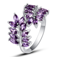 Fancy New Fashion Olive Branch Design Rings Women Jewelry 925 Silver Ring Amethyst Size 7 8 9 10  Wholesale Free Shipping