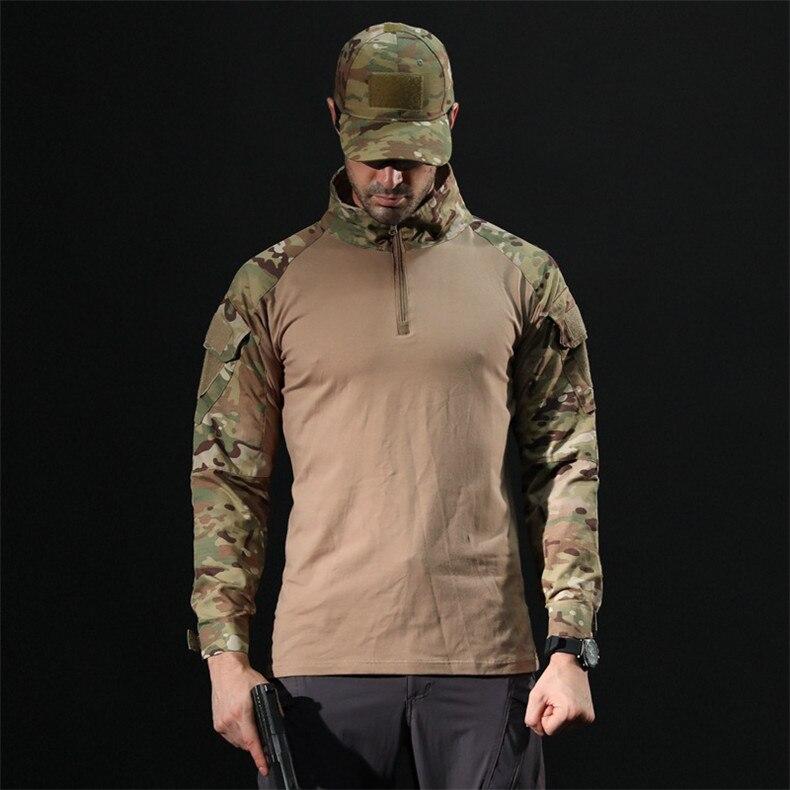 militar camo camiseta de manga longa