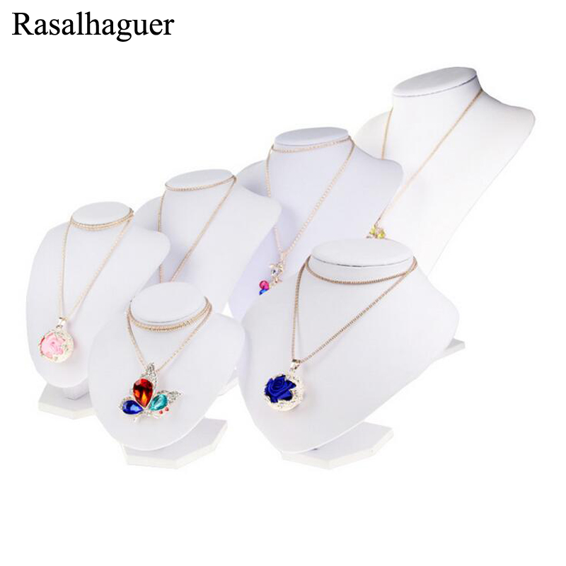 White PU Leather Jewelry Display Necklace Display Bust Shelf Ornaments Holder Rack Stand For Necklace Pendant Jewelry Organizer