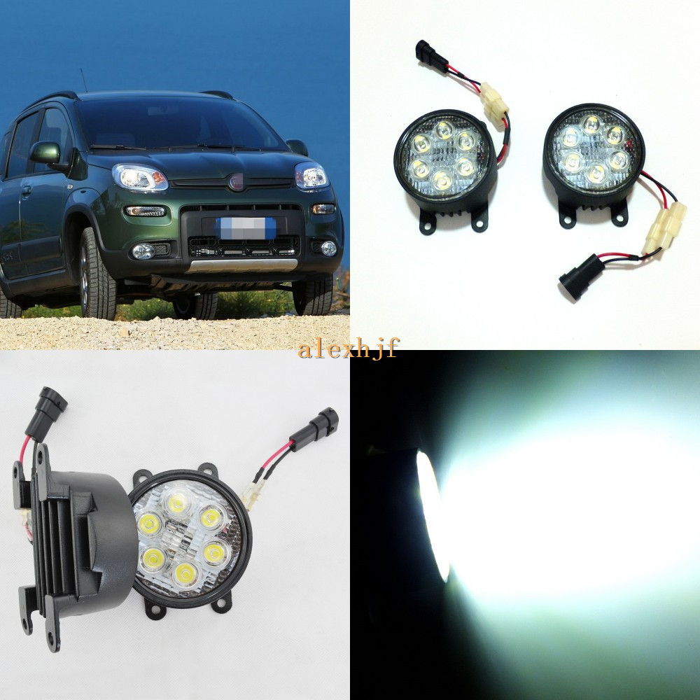 July King 18W 6LEDs H11 LED Fog Lamp Assembly Case for Fiat Panda 2012~2017, 6500K 1260LM LED Daytime Running Lights