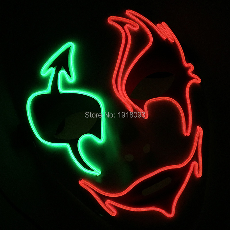DC-3V Steady on Inverter 7 Styles EL Wire LED Glowing light up Mask For Wedding Party Holiday decoration Glowing Product
